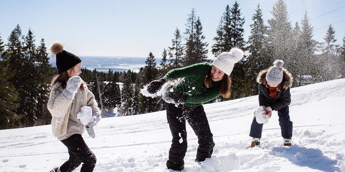 Familiesjov i sneen i Norge