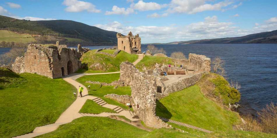 Castle ruins over Loch Ness, Scotland