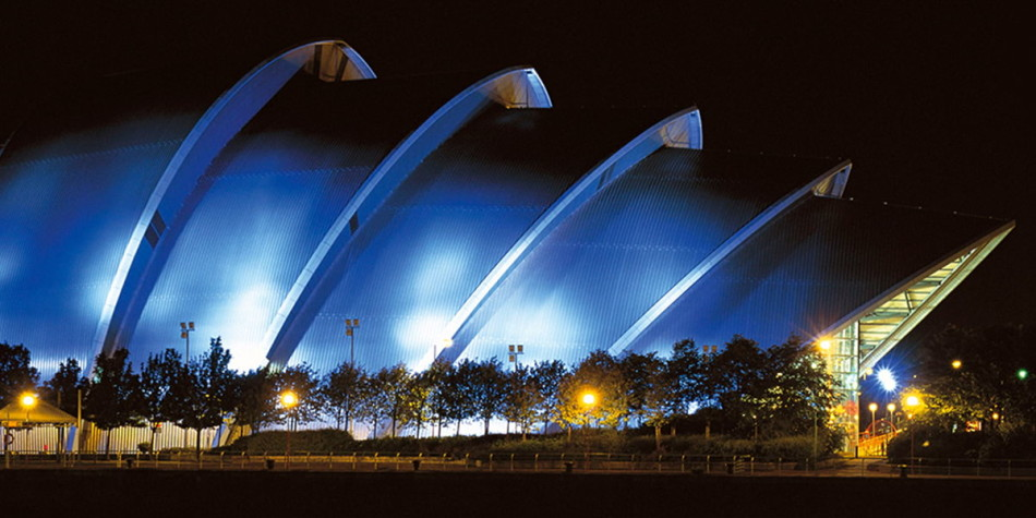 Glasgow Armadillo at night