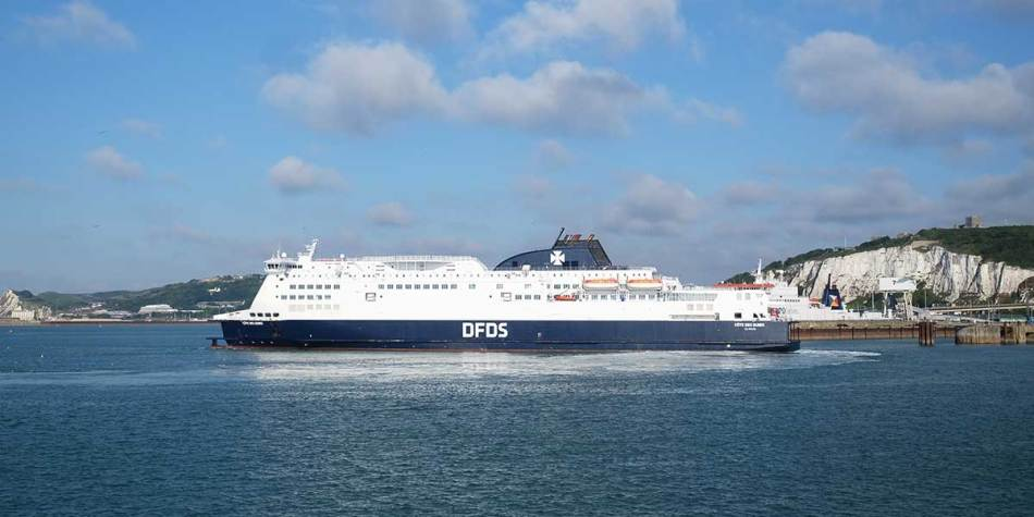 DFDS ship sailing on sea