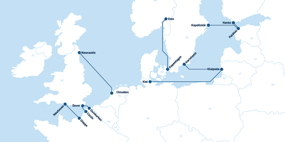 DFDS routekaart
