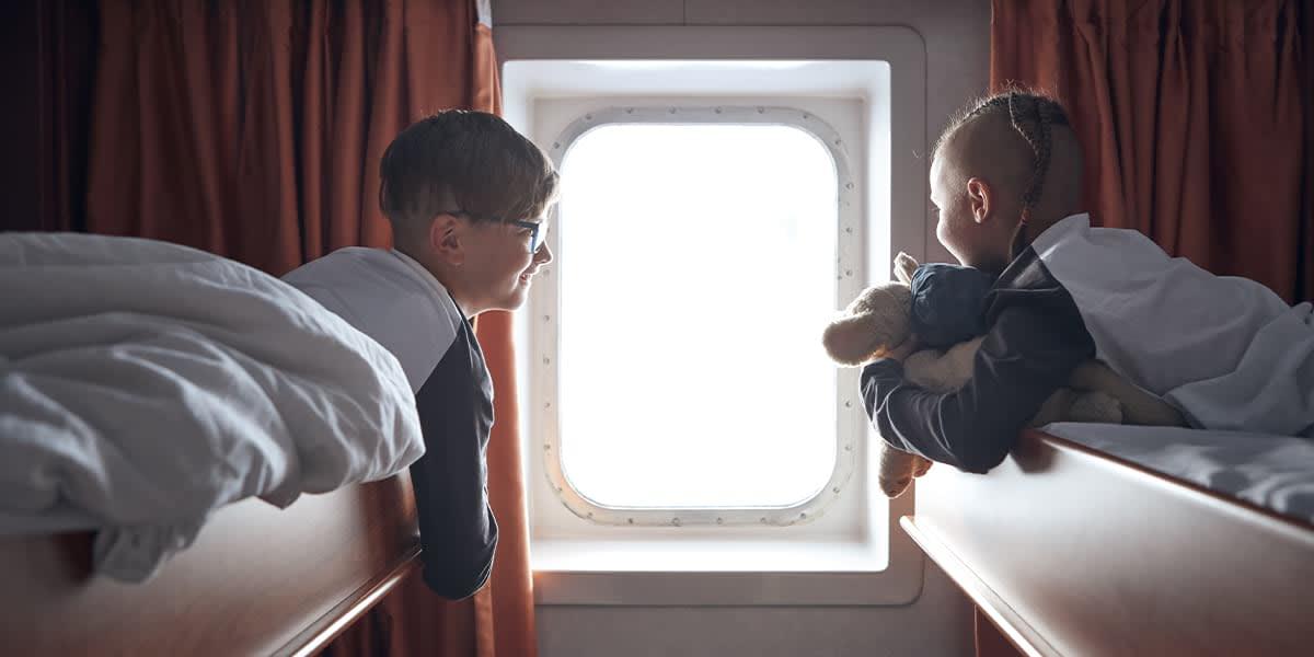 Children in the cabin onboard Klaipeda-Kiel