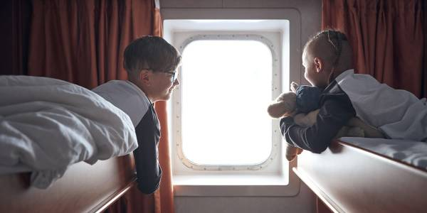 Children in the cabin onboard Klaipeda-Kiel