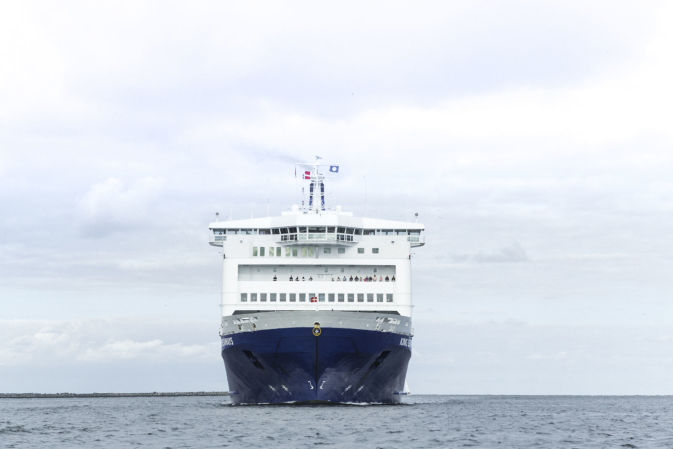View of the stern of a DFDS Freight Shipping vessel at sea