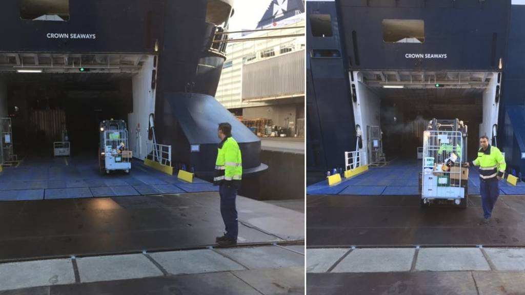DFDS employee unloads food, two photos side by side