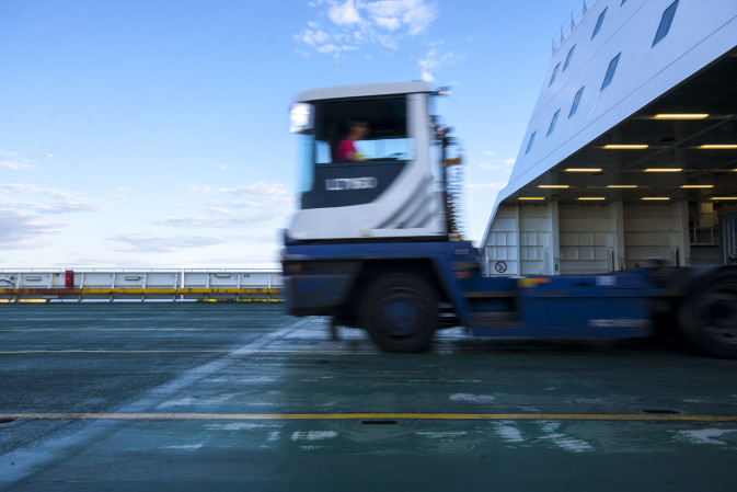 A truck leaving a DFDS vessel
