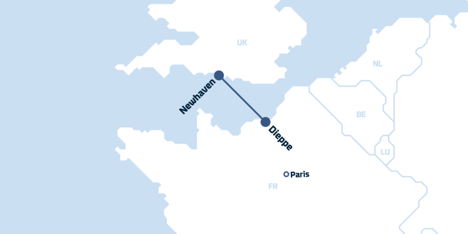 Newhaven to Dieppe map, highlighting the distance from the port to Paris.