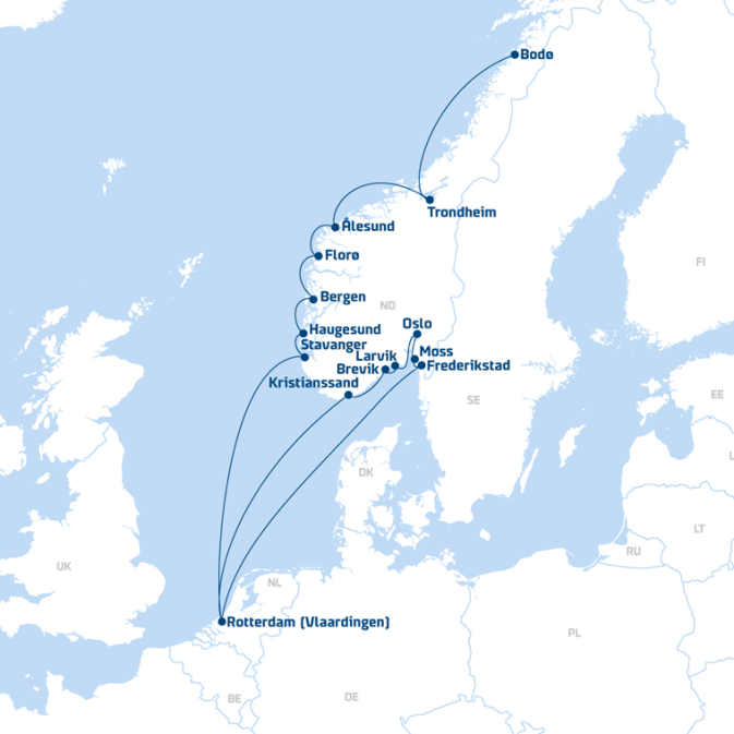 Map of DFDS Shipping Container routes from Rotterdam to Norway