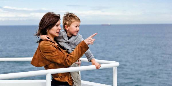 Mother and child on deck  of DFDS ferry