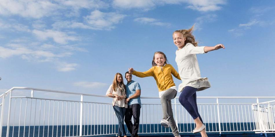 Children enjoying the entertainment onboard DFDS ferry