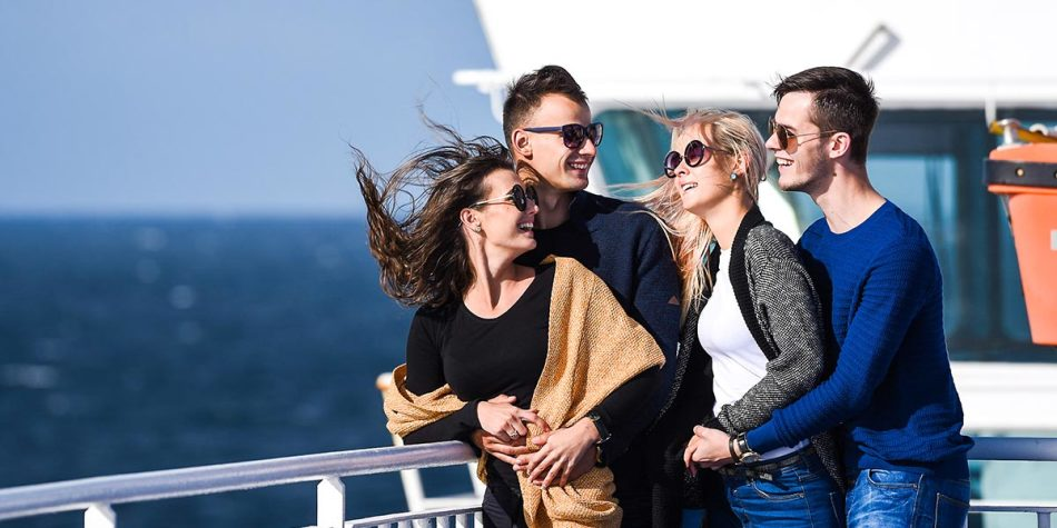 Group of friends on deck of DFDS ferry