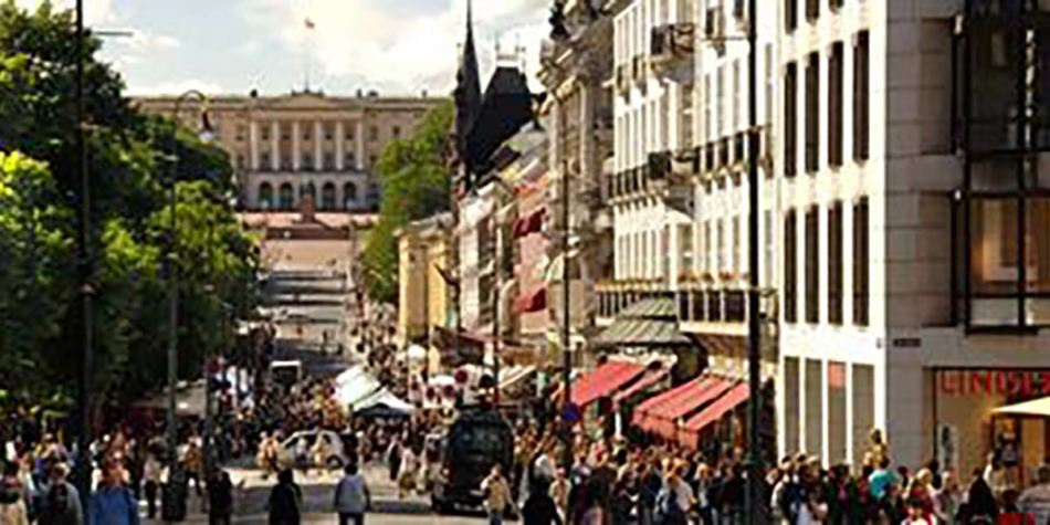 Street of shops in Oslo