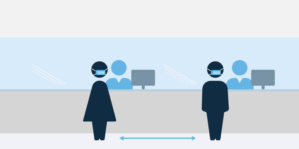 Terminal check in - social distancing