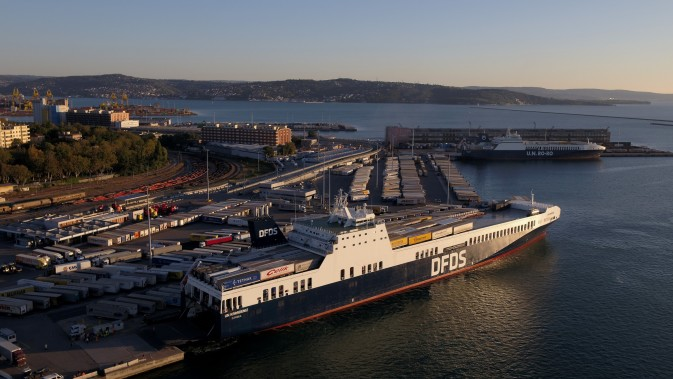 View from above of the DFDS Freight vessel UN Karadeniz at the Trieste terminal