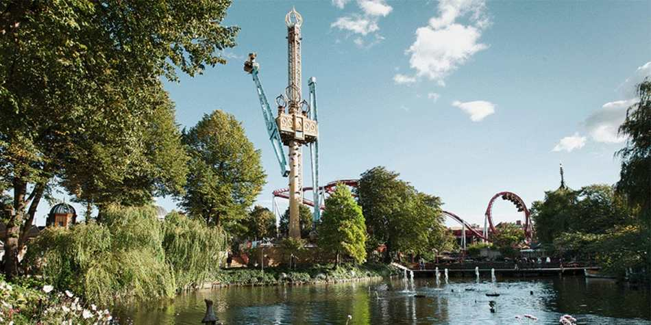 Rides above the treetops in Tivoli, Copenhagen