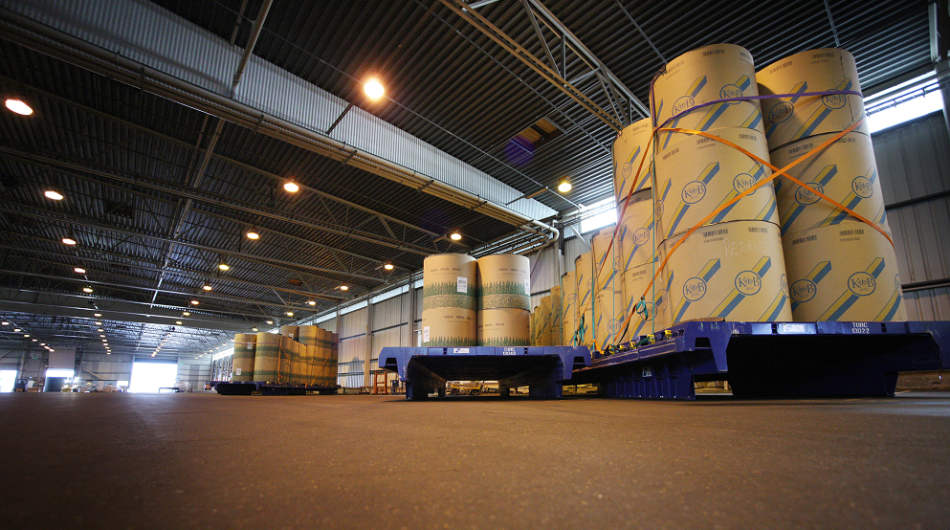 Forest products stored in a DFDS warehouse