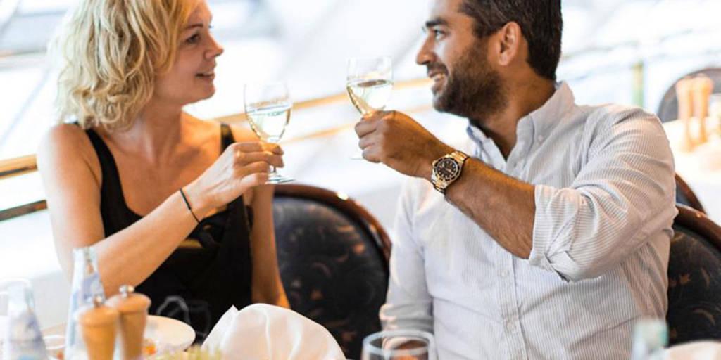 Couple wine cheers