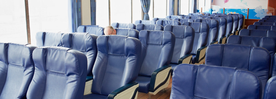 Reclining chairs onboard Dieppe-Newhaven ferry