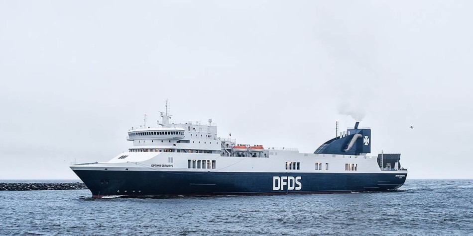 DFDS Optima ferry on the sea