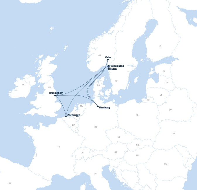 A map showing DFDS' network of  terminals and freight shipping routes in Norway, the UK and mainland Europe