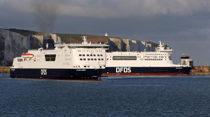DFDS ferries in the English Channel, in front of the Cliffs of Dover