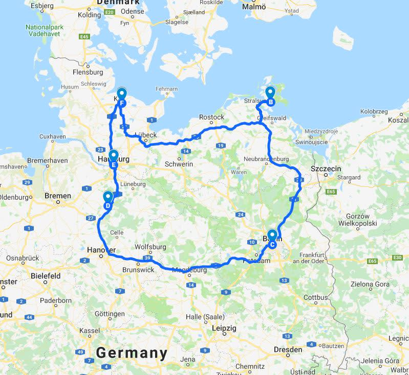 North Germany Trip Map
