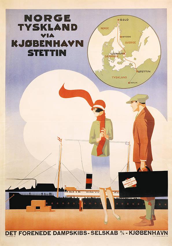 car-017 Poster tradition, Norge Tyskland via Kjøbenhavn Stettin