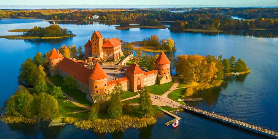 Trakai Castle view in Lithuania