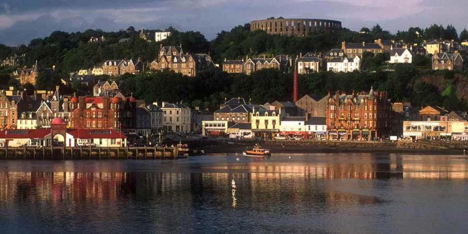 Buildings on the water edge in Oban, Scotland