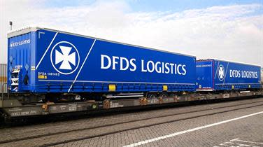 DFDS Logistics DFDS reefer containers on a train flatbed