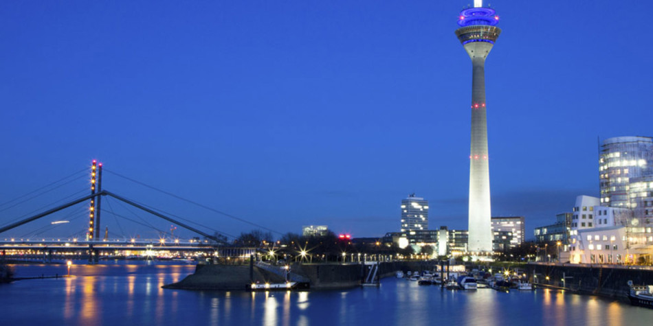 Dusseldorf city view at night