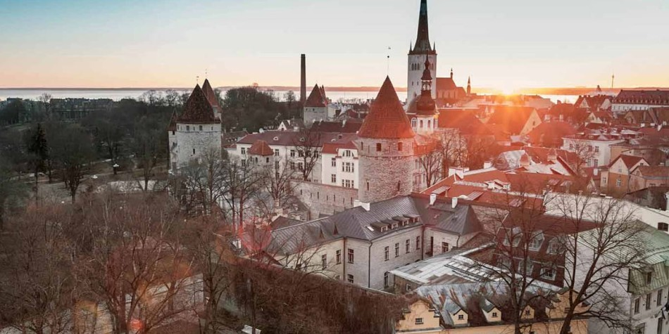 Tallinn in Estonia at sunset
