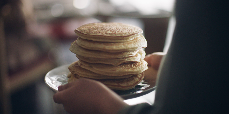 Stack of pancakes for breakfast onboard