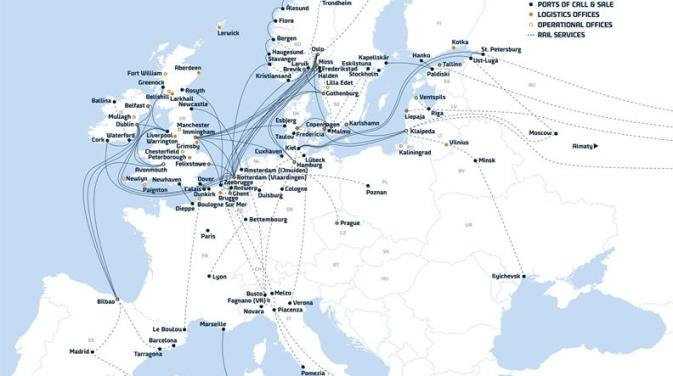 DFDS Shipping European route map