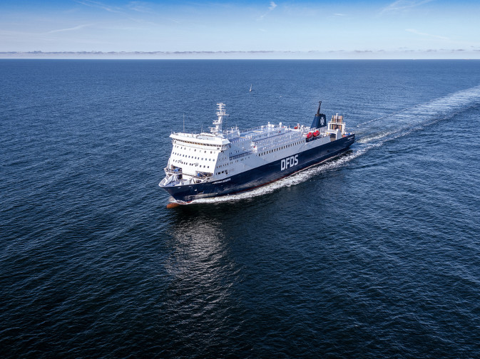 DFDS Freight Shipping vessel Patria Seaways sailing in the Baltic sea