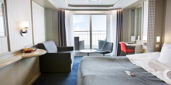 Balcony cabin onboard Copenhagen-Oslo