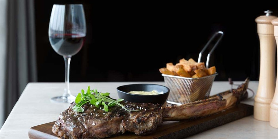 Steak and wine at our onboard restaurant