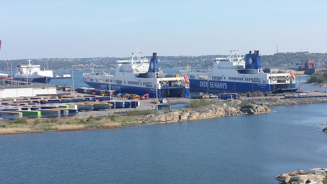 DFDS Gothenburg terminal with multiple ships at the dock