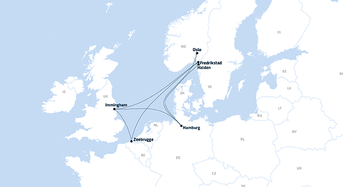 A map showing DFDS' network of  terminals and freight shipping routes in Norway, the UK and mainland Europe - updated in 2019
