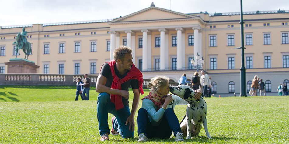 A couple and their dog in Oslo