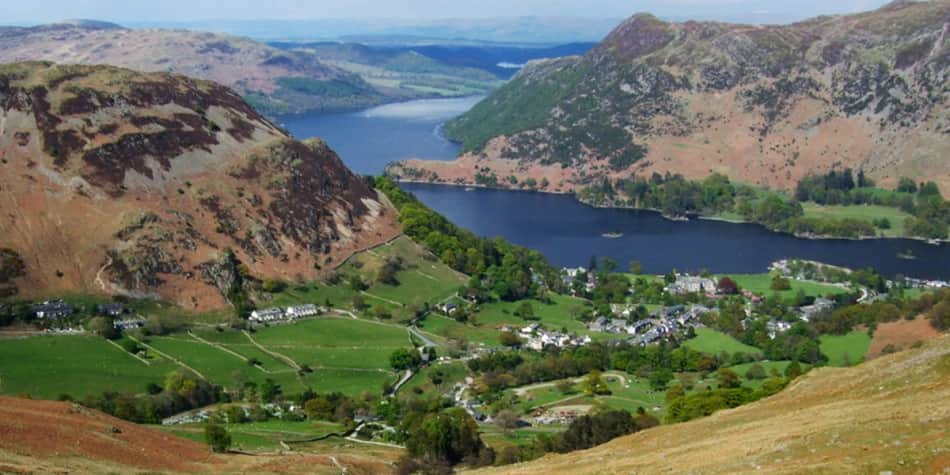 Top landscape view of Lake district