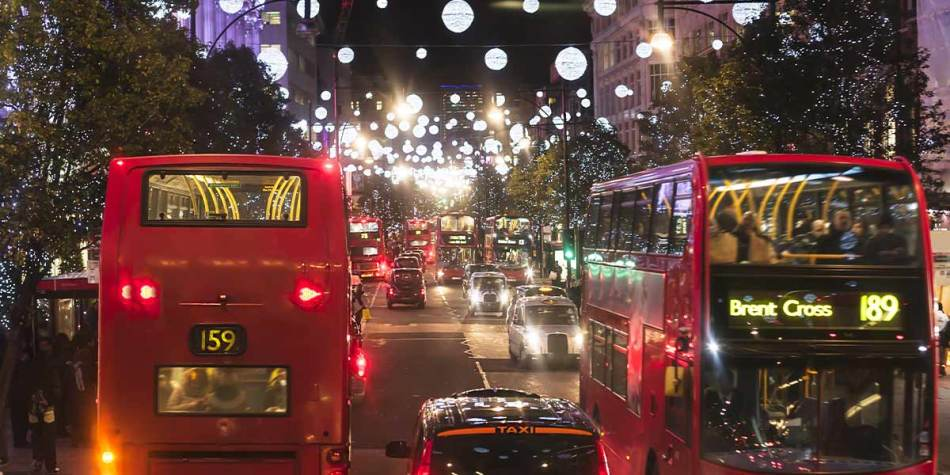 London streets during Christmas