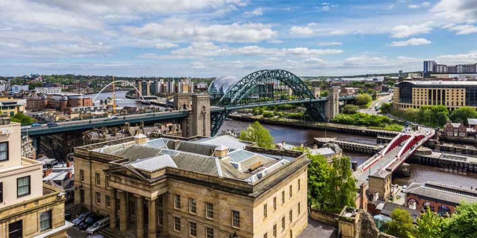 Top view over the Tyne bridge Newcastle