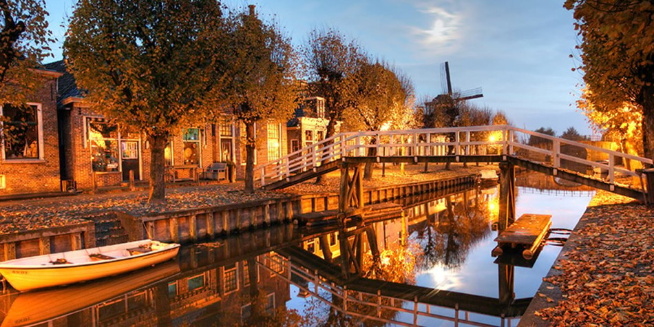 Canal in Holland in the evening
