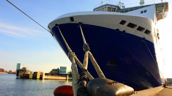 Low angle photo of the stays tying a DFDS vessel to the dock