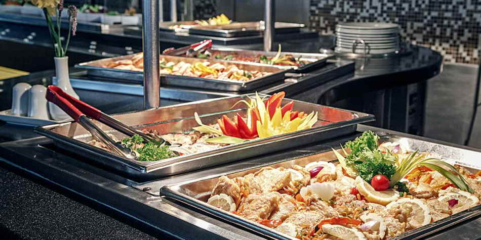 Tray of food at Self-service restaurant onboard DFDS ferry