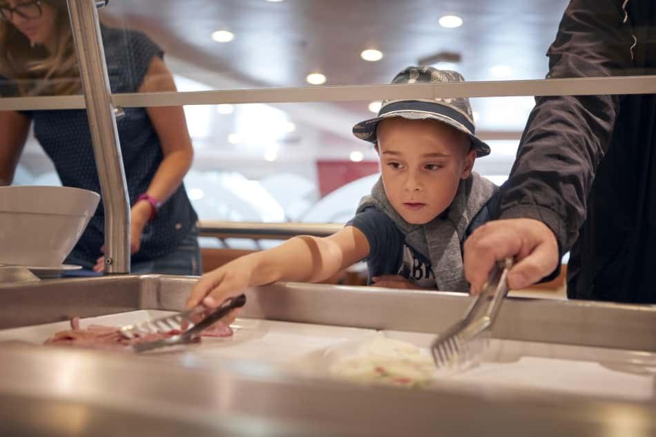 Self-service restaurant onboard Kiel-Klaipeda