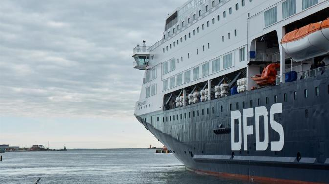 Low angle view of the side of a DFDS ship