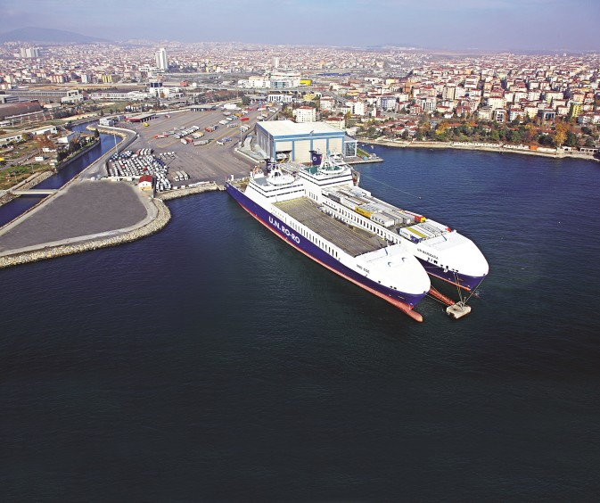 An aerial view of two vessels docked in Pendik