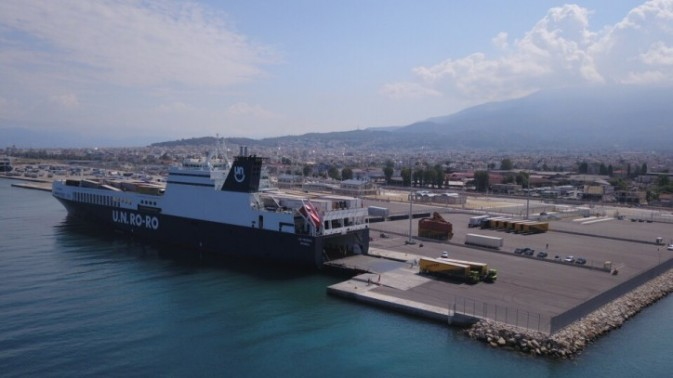 A U.N. Ro-Ro vessel docked in Patras